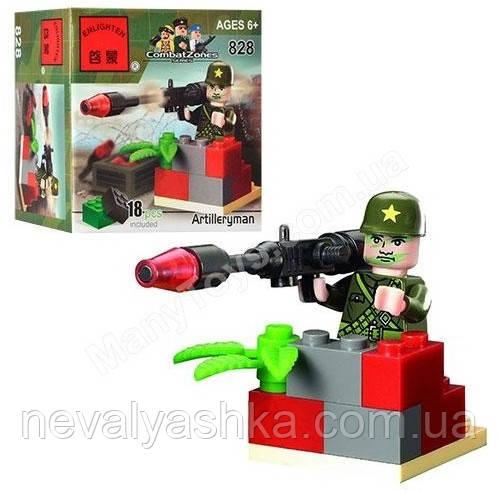 Конструктор Brick Enlighten Военная техника Артиллерист, 18 дет., 828, 004102