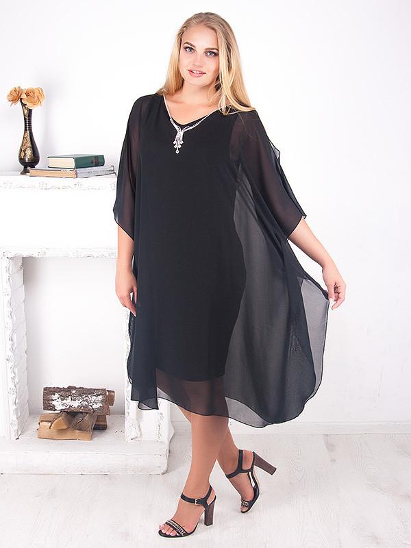 08c890f0cdc Черное вечернее платье для полных женщин 211 - V Mode
