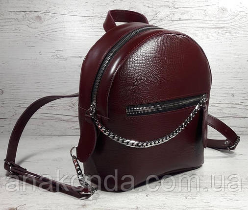 112 Натуральная кожа Городской рюкзак Кожаный рюкзак Из натуральной кожи Рюкзак женский бордовый рюкзак марсал, фото 2