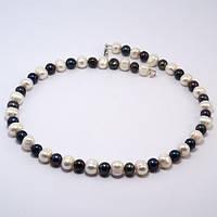 Бусы черный и белый жемчуг 50 см ( жемчужное ожерелье )