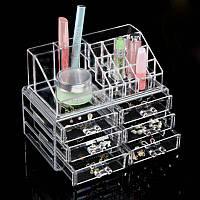 Настольный акриловый органайзер бокс для косметики Cosmetic Organizer 6 drawers