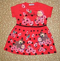 Платье с Коротким Рукавом для Девочки Маша и Медведь Красное Рост 110, 116 см