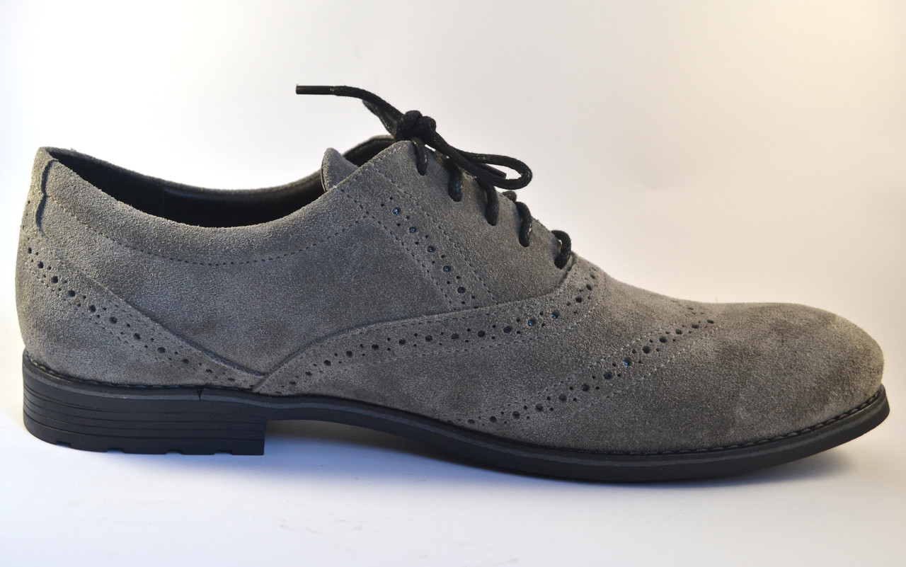 Туфли броги оксфорды мужские замшевые Rosso Avangard Felicete Persona Grey Vel серые