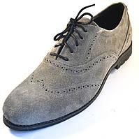 Обувь больших размеров мужские туфли замша серые броги оксфорды Rosso Avangard BS Felicete Persona Grey Vel, фото 1
