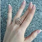 Кольцо Женское Цветок под Розовое Золото 14К с Белыми Фианитами, Позолоченные Кольца, Бижутерия 17, фото 4