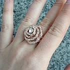 Кольцо Женское Цветок под Розовое Золото 14К с Белыми Фианитами, Позолоченные Кольца, Бижутерия 17, фото 5