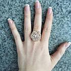Кольцо Женское Цветок под Розовое Золото 14К с Белыми Фианитами, Позолоченные Кольца, Бижутерия 17, фото 6
