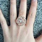 Кольцо Женское Цветок под Розовое Золото 14К с Белыми Фианитами, Позолоченные Кольца, Бижутерия 17, фото 7