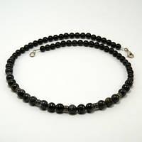 Колье черный агат 50 см ( украшение на шею )