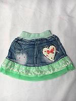 Юбки - шорты детские оптом, джинс (2-5 лет) Китай