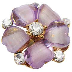 Кольцо Женское Коктейльное Цветок, под Золото с Аметистовыми Акриловыми Вставками и Стразами. Безразмерное