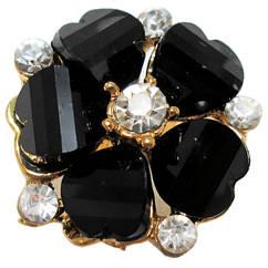 Кольцо Женское Коктейльное Цветок, под Золото с Черными Акриловыми Вставками и Стразами. Безразмерное