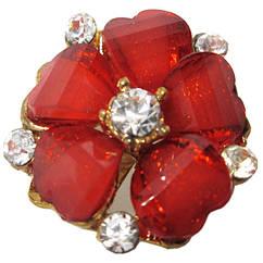 Кольцо Женское Коктейльное Цветок, под Золото с Красными Акриловыми Вставками и Стразами. Безразмерное