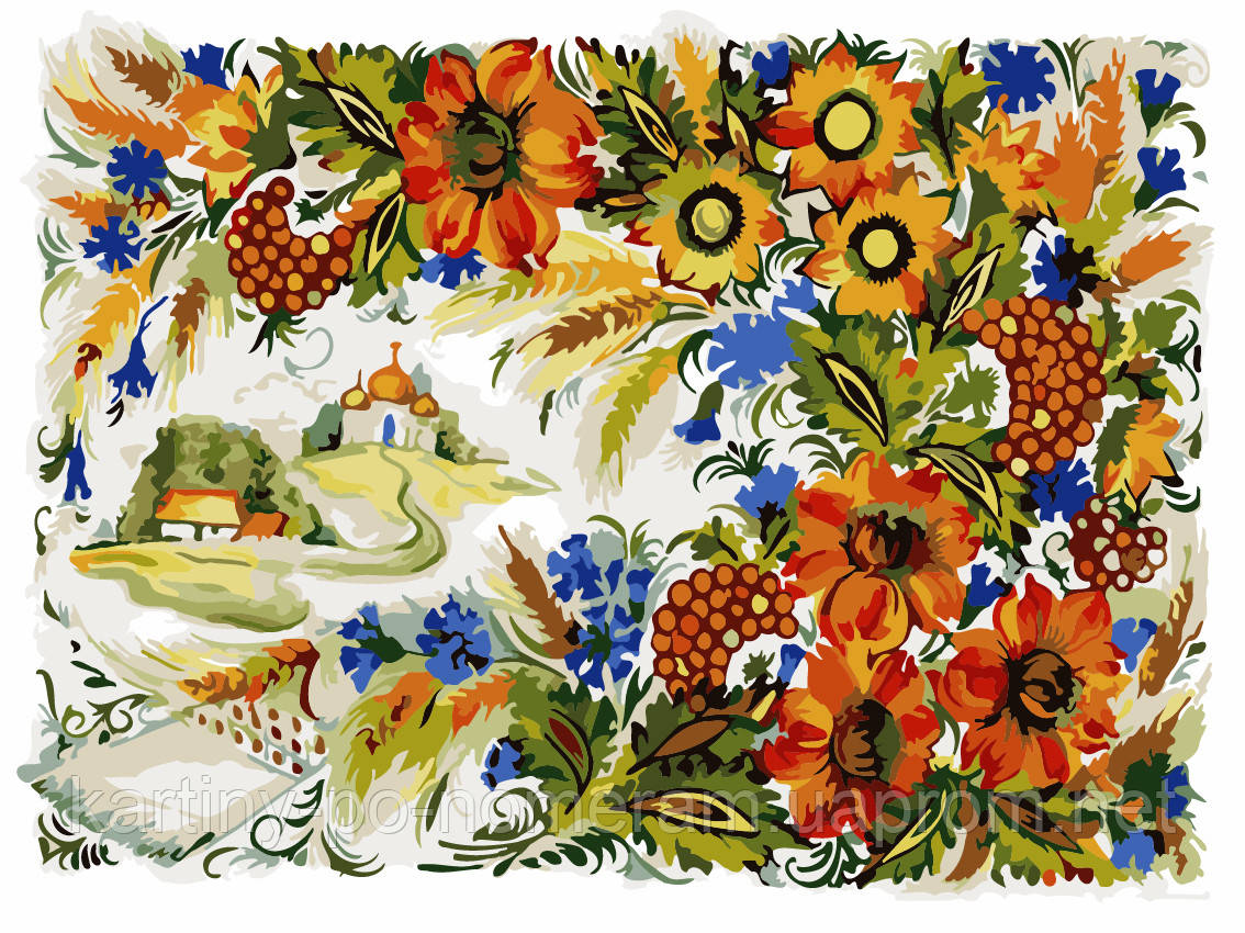 Картина по номерам AS0217 Петриковская роспись (30 х 40 см) ArtStory