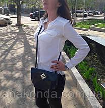 382 Натуральная кожа, Сумка кросс-боди женская, синий, глянцевая, фото 3