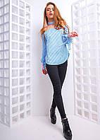 Блузка модная с чокером в полоску хлопок разные цвета 6Rb223, фото 1