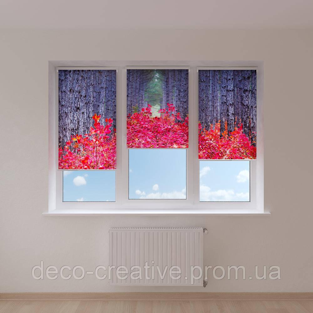 Рулонные шторы красная листва