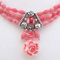 Колье серьги Хризантема розовый коралл 0004 ( подарочный набор )