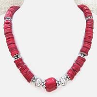 Колье серьги София красный коралл 0008 ( подарочный набор )