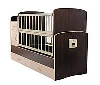 АВТОМАТИЧЕСКАЯ Кроватка С ПУЛЬТОМ Детская автоматическая кроватка 5 в 1 трансформер Кость Венге темный