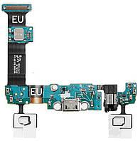 Шлейф для Samsung G928F Galaxy S6 Edge Plus, с разъемом зарядки, с кнопкой меню (Home), с сенсорными кнопками