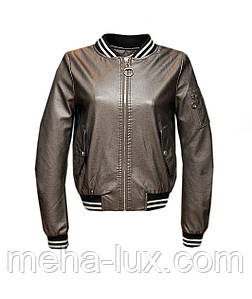 Куртка бомбер Zilanliya женская из экокожи металлик