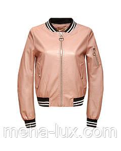 Куртка бомбер Zilanliya женская из экокожи розовая
