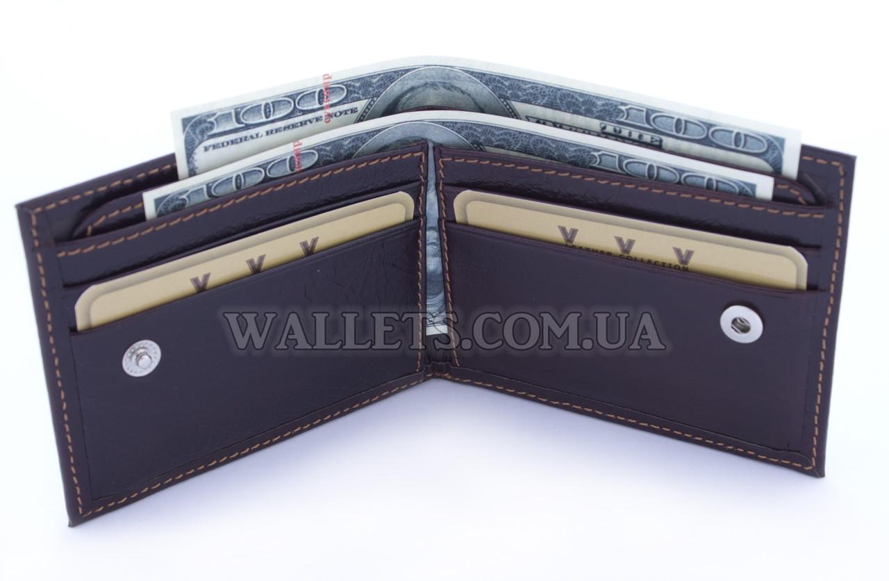 Тонкий шкіряний чоловічий гаманець VIVA, бордовий