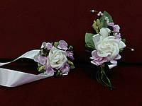 Свадебные бутоньерки (на пиджак и на руку) айвори (бежевые) с розовым