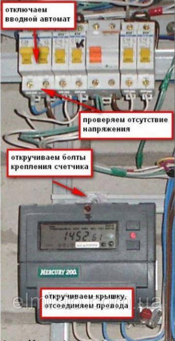 Подготовка к замене электросчетчика и вводного автоматического выключателя