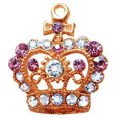 Подвеска Кулон Корона Тиара со Стразами, Металл, Цвет: Золото, выс 27 мм., шир 23 мм.