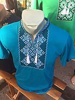 Футболка мужская голубая с бело-синей вышивкой