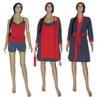 Комплект домашний женский 18004 Katalina Red, пижама, ночная рубашка, халат, р.р.42-50