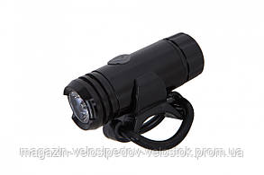 Фонарь LED передний AL125W, USB (черный корпус)