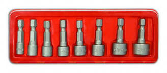 Набір насадок торцевих, Cr-V, 1/4 , 8 шт. (5-13 мм) Technics 47-310   набор торцевых насадка,