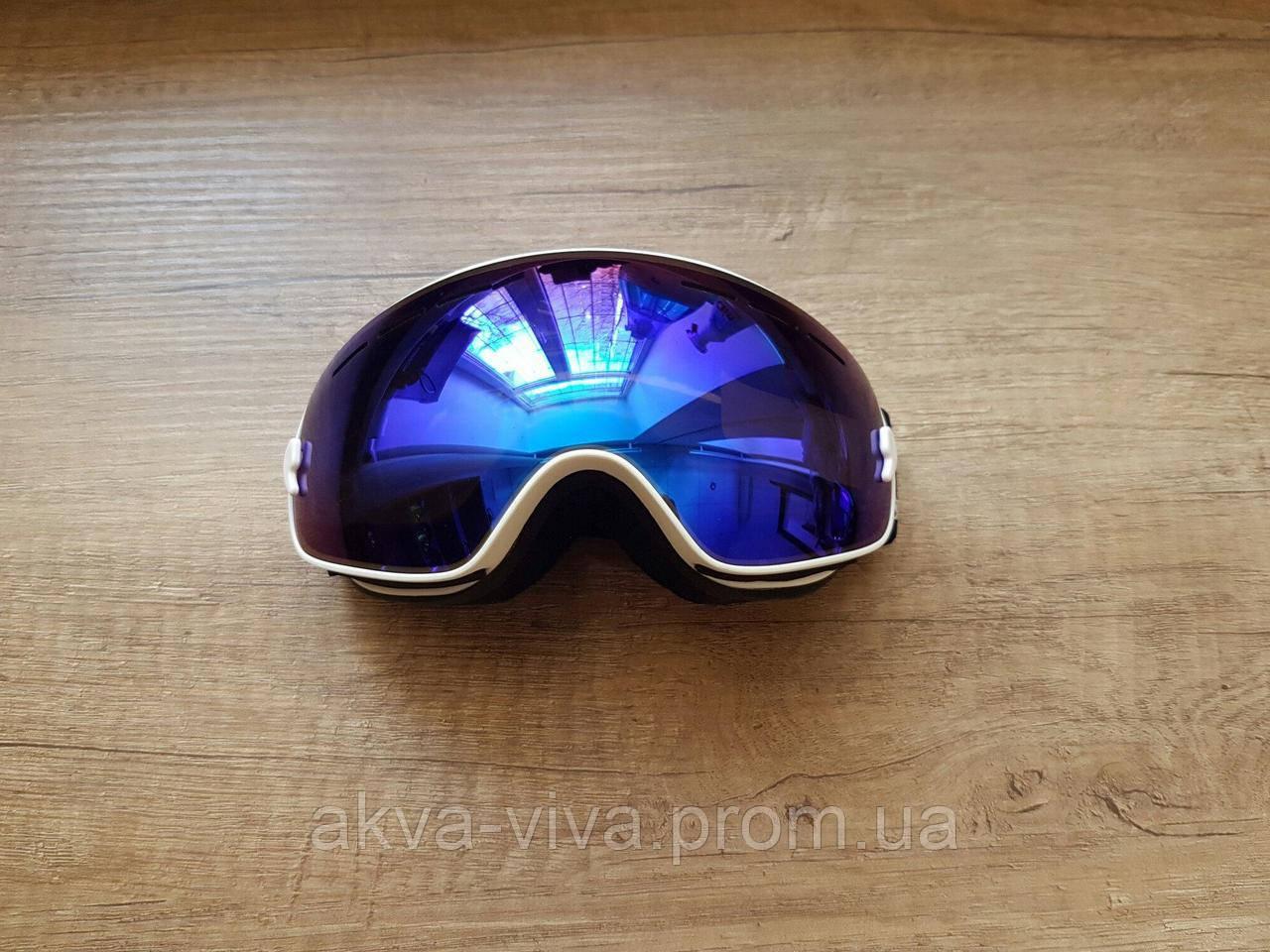Детская горнолыжная маска. Для детей/подростков до 15 лет. Белая рамка (ДМГ-1000)