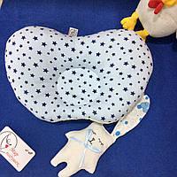 Детская подушка для новорожденных 25х35 плюш и голубые звезды, фото 1