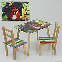 """Столик и два стульчика деревянные  """"Angry Birds"""" С 093 ***"""