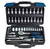 Набір головок та насадок 1/4 (4-14 мм), Cr-V, 45 предметів в кейсі Berg 52-106 | набор предметов кейсе