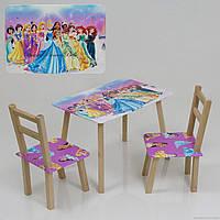 """Столик и два стульчика деревянные """"Принцессы"""" С 081 ***"""