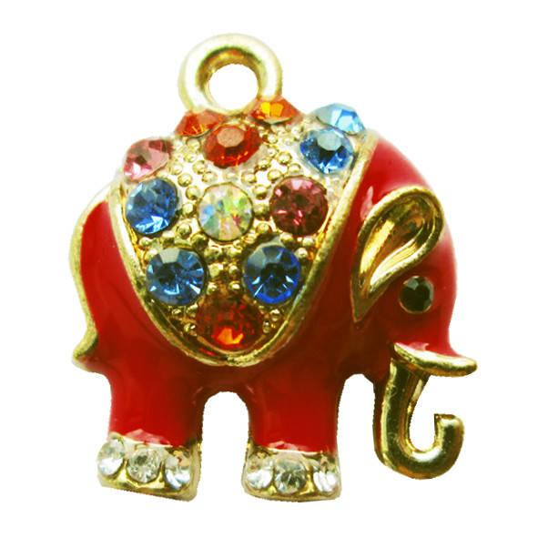 Подвеска Кулон Слон Красный со Стразами, Металл, Цвет: Золото, выс 16 мм., шир 16 мм. толщ 5 мм.