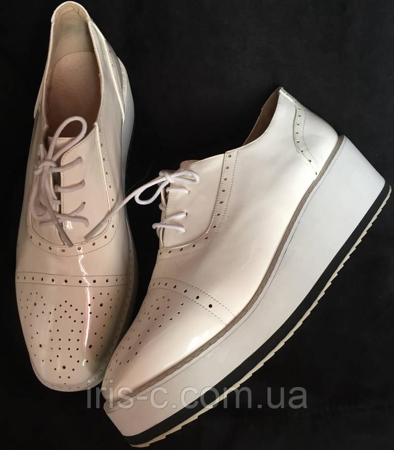Туфли женские, белые, очень большой размер, лакированная искусственная кожа размер, 42