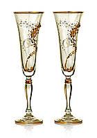 Набор бокалов для шампанского Bohemia Victoria Vesta Gold 2 шт. Свадебные бокалы