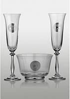Набор бокалов для шампанского с фруктовницей Bohemia Angela Edem платина (2+1)