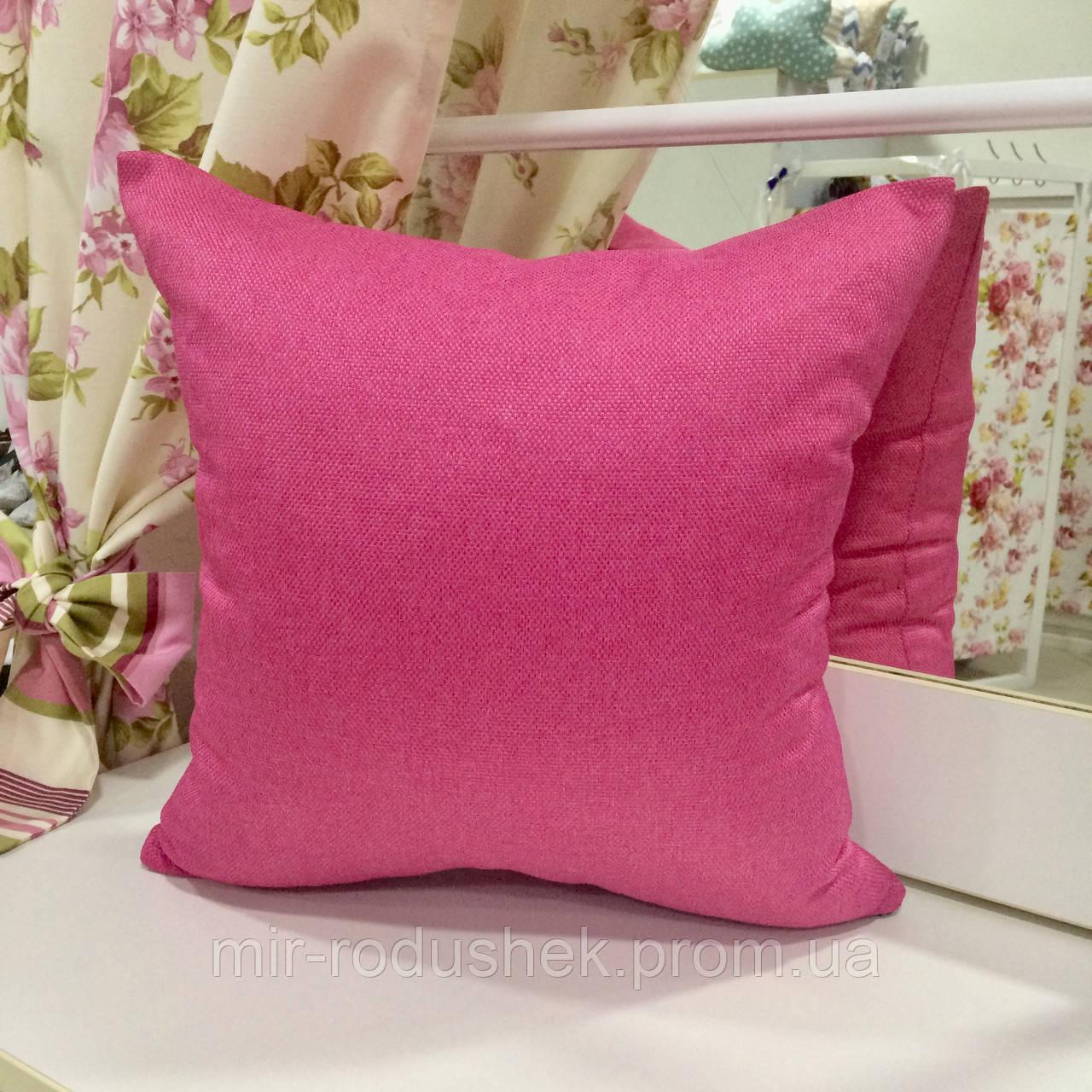 "Декоративная подушка ""Рогожка Брук"" 45х45 розовая: наволочка на молнии, наполнитель холлофайбер"