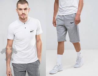 Мужской комплект поло + шорты Nike белого и серого цвета (люкс копия)