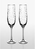 Набор бокалов для шампанского Bohemia Viola Lido 2 шт, напыление платина. Свадебные бокалы