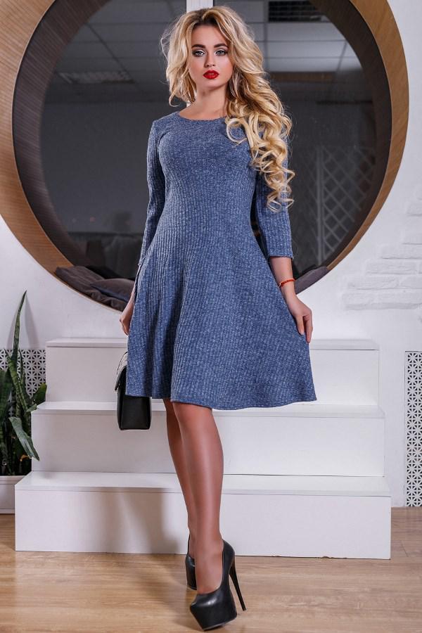 7fd4ce88db1 Синее Трикотажное Платье с Люрексом Д-1003 — в Категории
