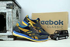 Подростковые кроссовки Reebok Синий\Рыжие плотная сетка+кожа 10882 р. 36 37 38 39