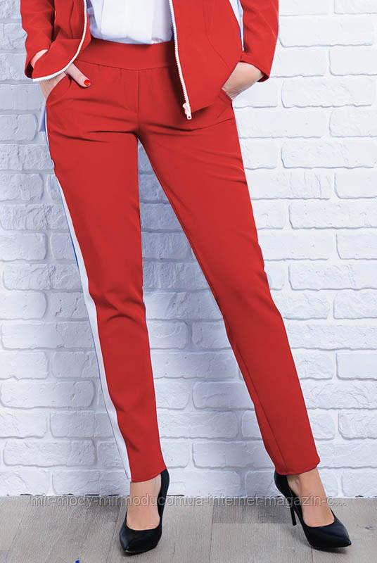 СТИЛЬНЫЕ БРЮКИ С ЛАМПАСАМИ САН-ФРАНЦИСКО красные с 42 по 60 размер (ЛБ)